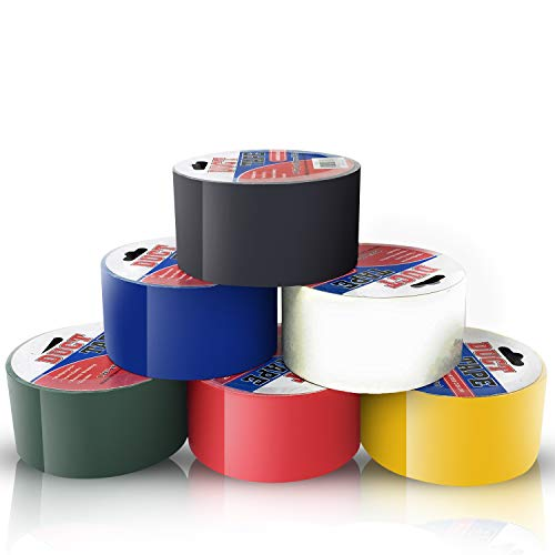 Duct Tape Multi Pack Colors Set of 6 Rolls - Decorative Colored Duct Tape Variety Pack as Colorful Printed Duct Tape Crafts for Kids - 5 to 6 Random Solid Colors 10 Yards Long ()