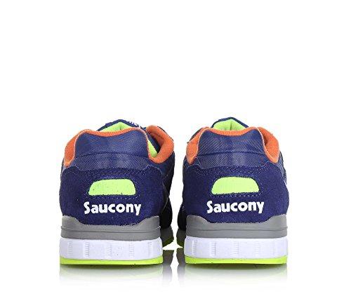 SAUCONY - Basket Shadow 5000 à lacets bleue en cuir, suède et microfibre, logo sur la languette et à l'arrière, garçon, garçons