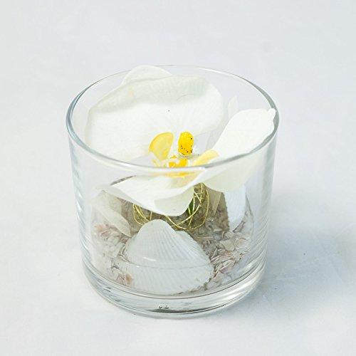 Centro de mesa con una orquídea blanca en un vaso redondo-línea de ...