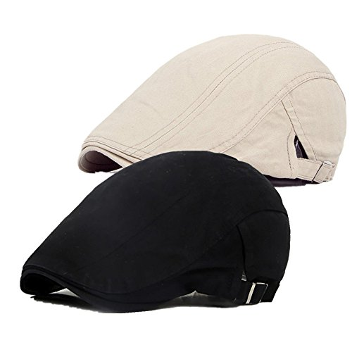Bigface Up Pack of 2 Men's Cotton Flat Cap Ivy Cabbie Driving Hat Summer Newsboy Cap(Beige+Black) for $<!--$11.99-->