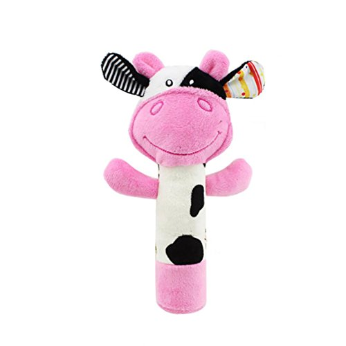 Fineser Baby Hand Grip Rod Toys Educational Toys Rattle Animal BB Stick Soft Hand Bell (Milk - Cow Rattle