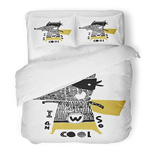 Emvency Bedding Duvet Cover Set King (1 Duvet Cover + 2 Pillowcase) Super Cute with Ink Wolf Hero Cartoon Bear in Scandinavian Style Animal Mask Baby Hotel Quality Wrinkle and Stain Resistant ()