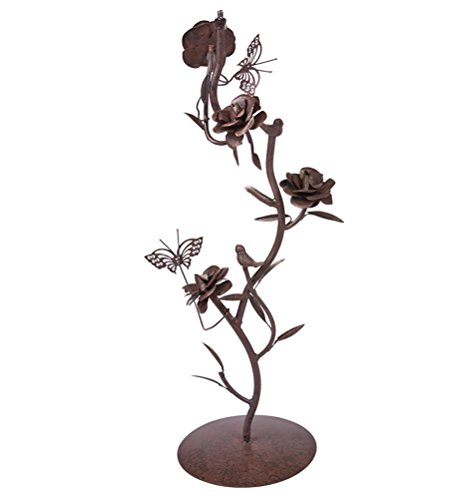 - Rome Industries B91 Rose Pedestal Base for Sundials, Rusty Antique Painted Finish, Wrought Iron, 28-Inch