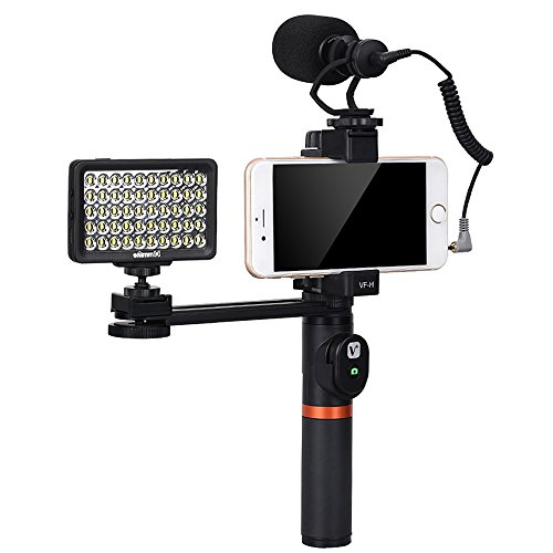 Viewflex Phone Video Kit VF-H6 Smartphone Video Grip with Camera Microphone And Video Light,Metal Handheld Grip for IPhone X 8Plus 76s Samsung Galaxy S8+ S8 Note3 Huawei(with Bluetooth Remote Control)
