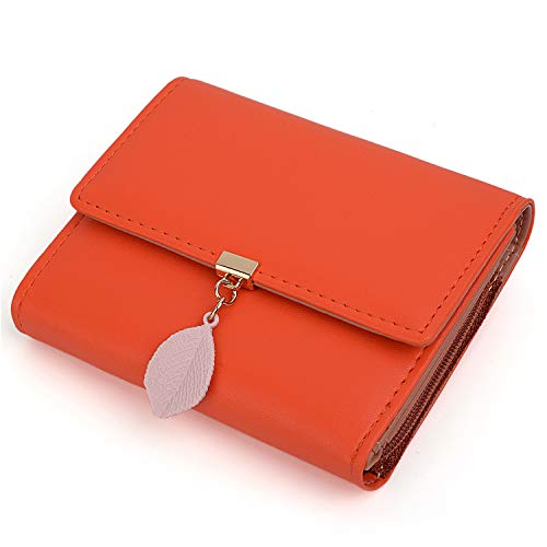 UTO Geldbörse Damen Pu-Leder Kleine Brieftasche für Damen Blatt Anhänger 5 Kartensteckplätze 1 ID Fenster Kartenhalter Organizer Mädchen Reißverschluss Orange-2