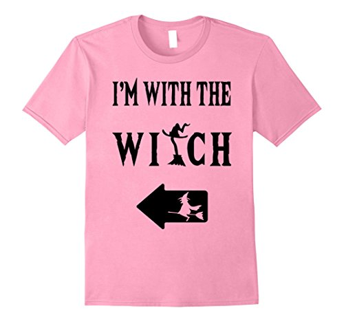 Halloween Costumes I Party (Mens I'm With The Witch T-Shirt Funny Halloween Costume Party Large Pink)