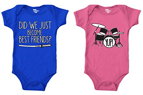 Tcombo Did We Just Become Best Friends? / Yup! Bodysuit 2 Pack (Royal/Pink, 18 Months/18 ()