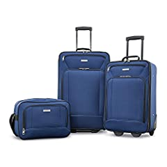 This American Tourister Set is made of ultra-lightweight 600D shiny polyester construction. Rolls upright so there is no weight on your arm or shoulder, uprights have smooth-rolling in-line skate wheels for effortless mobility. Features reinf...