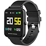 "Foronechi Smart Watch for Android/Samsung/iPhone, Activity Fitness Tracker with IP68 Waterproof for Men & Women, Smartwatch with 1.54"" Full-Touch Color Screen, Heart Rate & Sleep Monitor, Black"