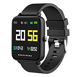 Foronechi Smart Watch for Android/Samsung/iPhone, Activity Fitness Tracker with IP68 Waterproof for Men & Women, Smartwatch with 1.54″ Full-Touch Color Screen, Heart Rate & Sleep Monitor, Black