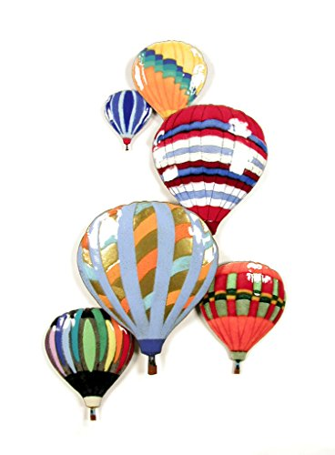 "Hot Air 6 Balloons In Flight Enamel Glass Copper Metal Wall Art, Large Metal Wall Art in Modern Festival Design, 3D Wall Art for Modern and Contemporary Décor, 11""x 17"" made in New England"