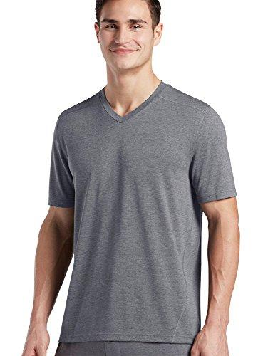 Jockey Men's Sleepwear Relaxed Short Sleeve V-Neck , medium heather grey, L
