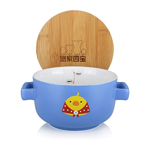 UPSTYLE Cute Cartoon Microwave Ceramic Soup Bowls Instant Noodle Bowl Cereal Serving Bowl for Salad Fruit with Bamboo Lid (Not Put in Microwave) Size 750 ml, Blue