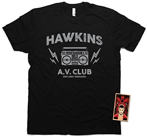 Daft Threads ~ Stranger Hawkins A.V. Club T-Shirt & Things Sticker Men's Small (Black)