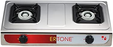 ertone Hornillo de gas/Gas Horno, 2 focos, acero inoxidable + ...