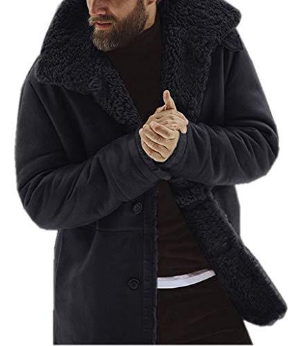 - Men Winter Faux Fur Long Shearling Jacket Coat Classic Sheepskin Windproof Motorcycle Outwear (Black, XL)
