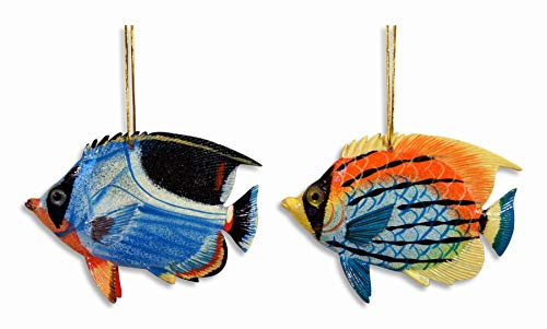 "LX Hand Painted Ocean Creature Ornament Tropical Fish 4"" (Set of 2)"