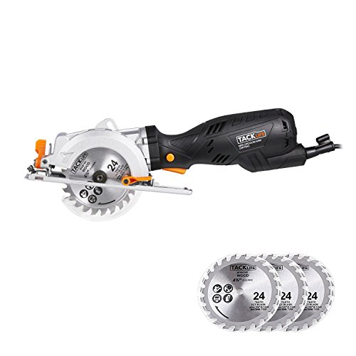 Tacklife CSK76AC Mini Circular Saw 5.8Amp 3500 rpm 4-1/2'' Left-handed blade design Adjustable Cutting Depth Double Switch Controlling with 3 Blades, Vacuum Adapter and Accessories