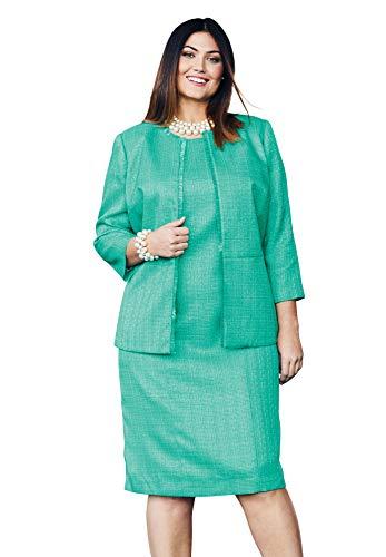Jessica London Women's Plus Size Tweed Jacket Dress - Pretty Jade, 18 - Tweed Jessica Blazer