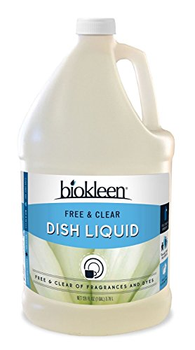 Clear Liquid Natural Dishwashing - Biokleen Dish Liquid Soap, Dishwashing, Eco-Friendly, Non-Toxic, Plant-Based, No Artificial Fragrance, Colors or Preservatives, Free & Clear, Unscented, 1 Gallon