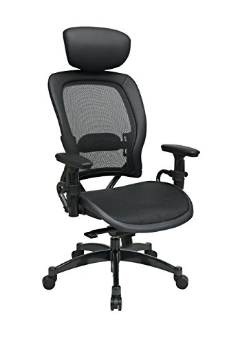 Professional Breathable Mesh Black Chair with Adjustable Headrest and Gunmetal Finish Accents