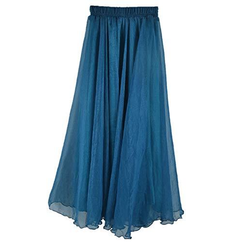 (MULLSAN Women Retro Vintage Double Layer Chiffon Pleat Maxi Long Skirt Dress (A Blue))