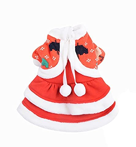 Hii-Yo Cute Soft Warm Soft Pet Cat Dress with Pompon & Umbrella Pet Clothes (Theatrical Umbrella)