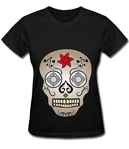 orchard-plazza-womens-gorgeous-diamond-flower-skull-cotton-tee-shirt-black