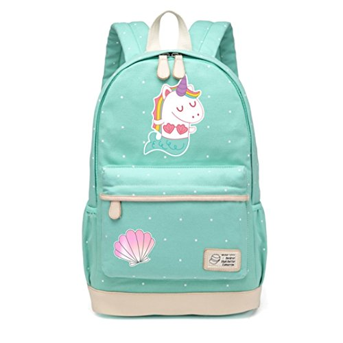 Green Nubuck (Cute Unicorn Dab Cartoon For Women Girls Canvas Flowers Wave Point Rucksacks Backpack Travel Shoulder Bag Mermaid)