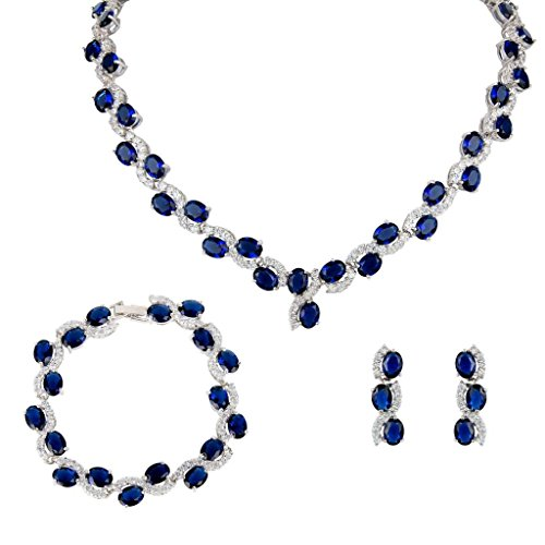 Faith Ring Necklace (EVER FAITH Silver-Tone Zircon Wedding S-Shaped Necklace Earrings Bracelet Set Sapphire-Color)