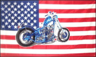3'x5' Chopper Motorcycle American Flag, US USA - Wholesale Choppers
