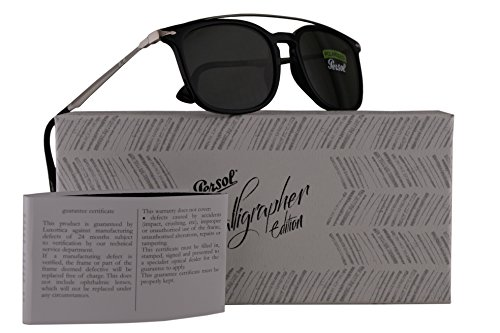 Persol PO3173S Calligrapher Edition Sunglasses Black Grey w/Polarized Dark Green Grey Lens 54mm 9558 PO 3173-S PO3173-S PO - Persol Sunglasses Cheap