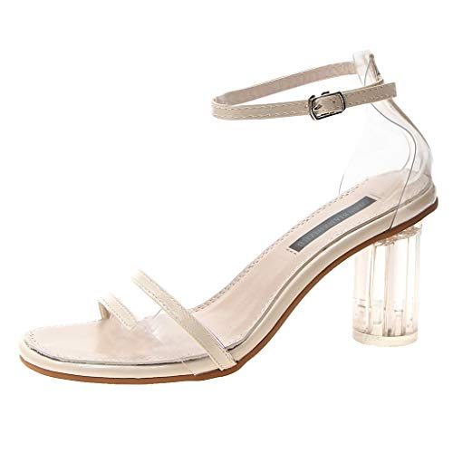 (Toimothcn Women Transparent Pumps Sandals High Chunky Heel Sandals Casual Bucket Strap Peep Toe Shoes(Beige,US:5))