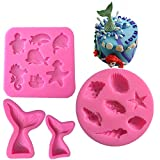 4 Pack Mermaid Tail Seashell Sea Creatures Silicone Jelly Sugar Chocolate Fondant Molds 3D Baking Cake Decoration DIY Molds