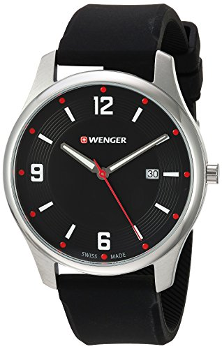 Wenger-Mens-City-Active-Swiss-Quartz-Stainless-Steel-and-Silicone-Casual-Watch-ColorBlack-Model-011441109
