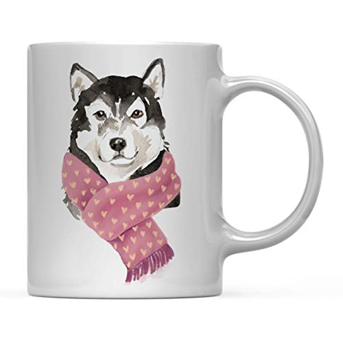 Andaz Press Funny Preppy Dog Art 11oz. Coffee Mug Gift, Malamute in Red Scarf, 1-Pack, Christmas Birthday Present Ideas for Him Her Dog Lover