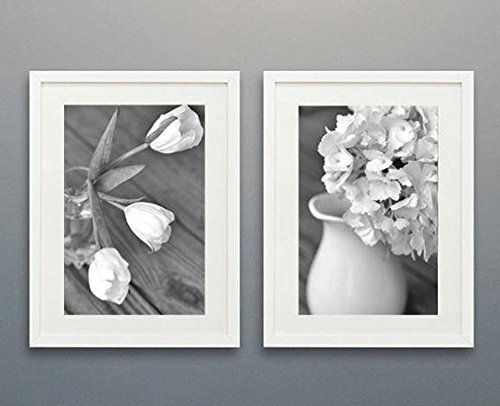 Black and White Art Set, French Country Farmhouse Floral Decor, White Tulips and Hydrangea Flower Pictures Wall Art, Cottage Bathroom Decor, Powder Room Art from 5x7 to 16x20