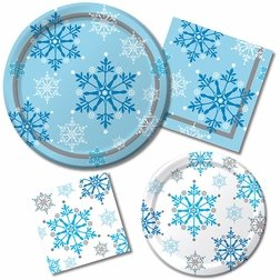Winter Holiday Party Supply Pack! - Snowflake Swirls Design - Disposable Dinnerware - 16 Guests - Includes Dinner Plates, Dessert Plates and Napkins