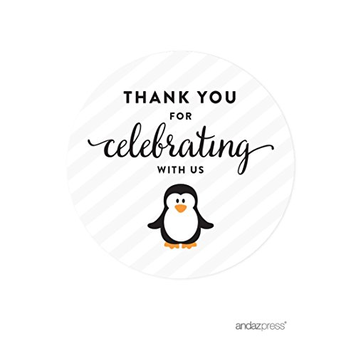 Andaz Press Birthday Round Circle Labels Stickers, Thank You for Celebrating With Us, Arctic Penguin, 40-Pack, For Gifts and Party -