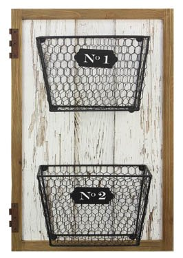 Wood & Wire Wall Basket Plaque