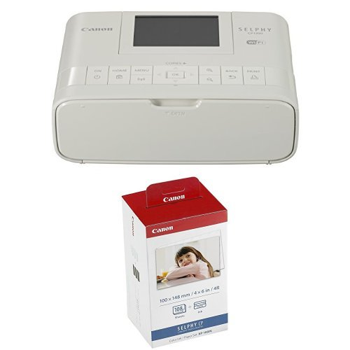 Canon Wireless Compact Photo Printer with AirPrint and Mopria Device Printing, White + Color Ink and 108 Sheet 4 x 6 Paper Set by Canon