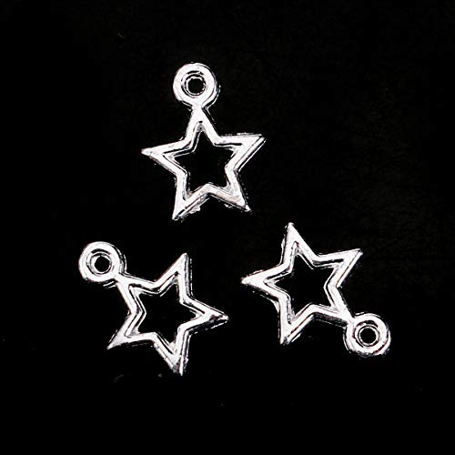 (PEPPERLONELY 100pc Plated Silver Alloy Pentagram Star Hollow Charms Pendants 13x10mm (4/8