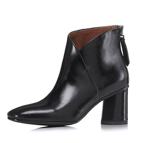 Otoño Biker Tacon De Elegantes Botas Mujer Negro Cuero Vestir Annieshoe Boots zFUBRw7
