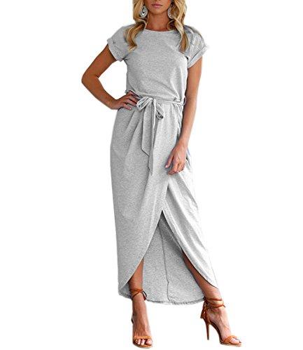 Mansy Womens Casual Cuffed Short Sleeves Belted Long T Shirt Warp Maxi Dress Light Gray