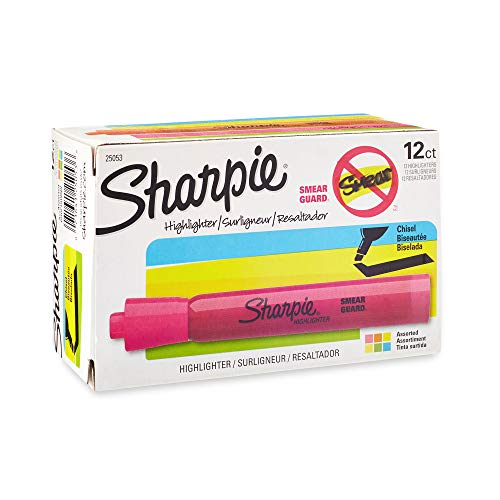 (Sharpie Tank Style Highlighters, Chisel Tip, Assorted, Box of 12)