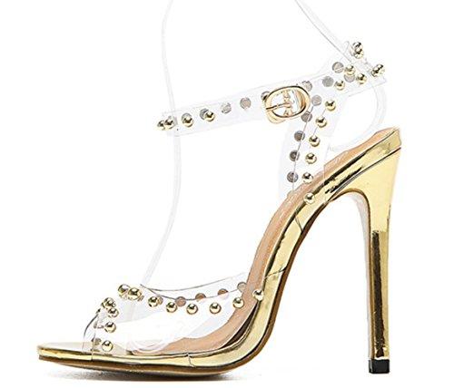 YCMDM Donne Sandali rivetti pellicola trasparente di cristallo principessa di cristallo Moda Open Toe tacchi alti , gold , 37