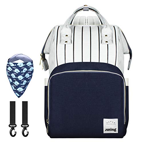 JUNING Diaper Bag Backpack – Multi-Function Waterproof Travel Backpack,Nappy Bags for Baby Care, Large Capacity, Stylish and Durable – Gray + Blue