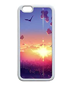VUTTOO Iphone 6 Case, Sunrise City Morning Birds Illustration Slim Case for Apple iPhone 6 4.7 Inch TPU Bumper White