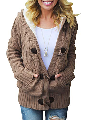 (Dokotoo Womens Fashion Ladies Warm Winter Hooded Casual Cardigans Button Open Front Long Sleeve Cable Knit Sweater Pullovers Coat Outwear Khaki Medium )
