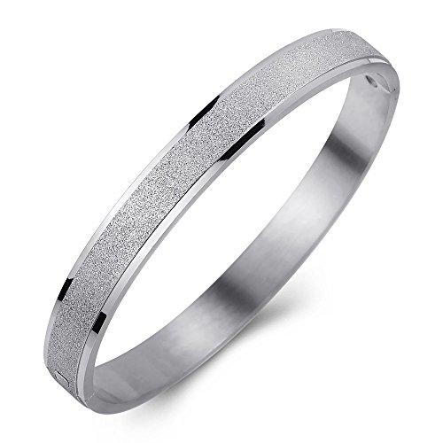 Steel Sand Cuff Stainless Bracelet (Ashley Jeweller Womens Stainless Steel Sandblasting Wedding Bands Bangle Silver Tone 7